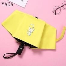 YADA Design Cartoon Cute White Cat Pattern Folding Automatic Umbrella For Women Men Anti-UV Gift Lovely Rainy YD029