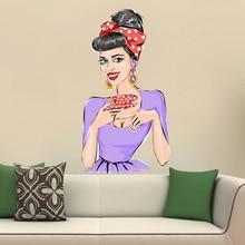 Sexy Makeup Wine Girl Wall Vinyl Sticker Pattern Custom Home Decor Wedding PVC Wallpaper Art Design Poster