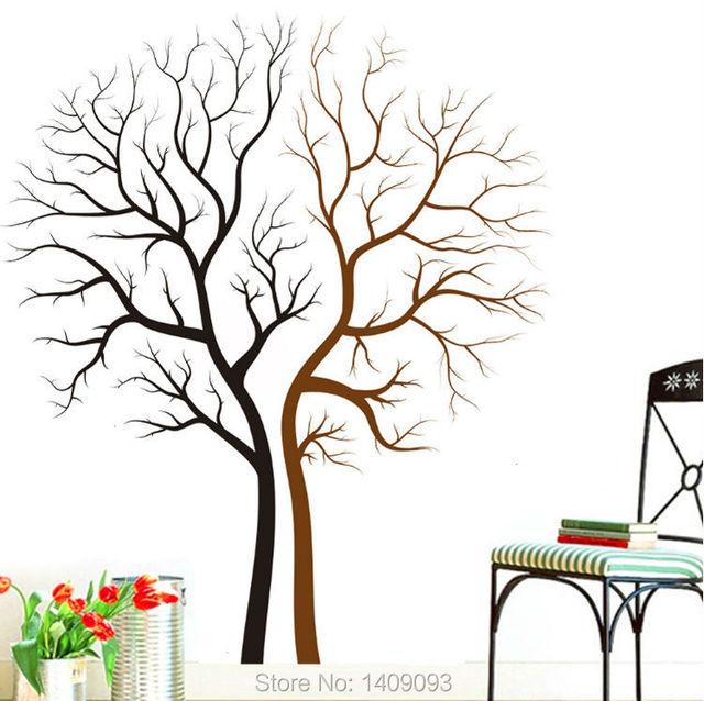 Tree Wall Sticker Home Decor Living Room Vinyl Stickers Decals Creative Mural Art Black Brown