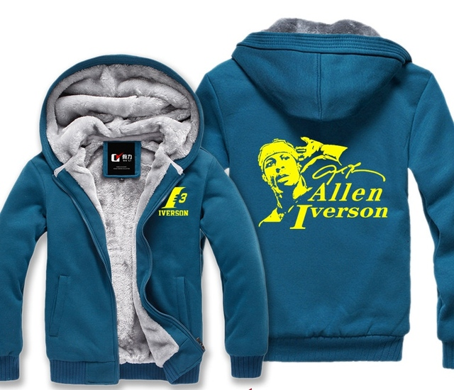 Allen Iverson Male Jackets Sweatshirt Men Winter Hoodies Cute Casual Hoody Cloak Shawl Man Cloth Keep Warm