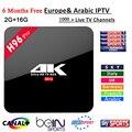 H96 Pro caixa de tv android 6.0 S912 4 k Smart tv + 6 meses europa IPTV Arábica 1000 + Francês África do REINO UNIDO DE Itália Alemanha Espanha canais