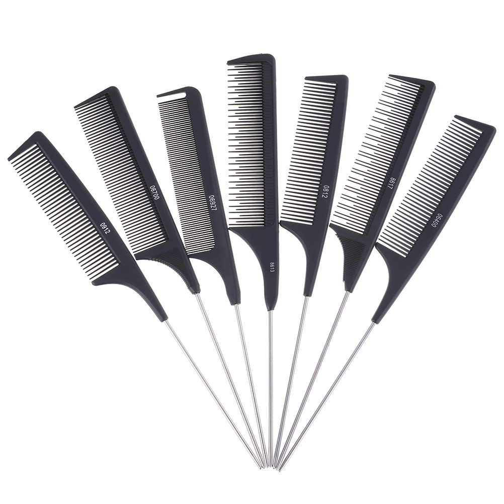 1Pc Metal Pin Tail Antistatic Comb Black Hard Carbon Cutting Comb Heat Resistant Salon Hair Trimmer Brushes