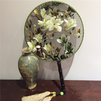 Chinese Fan Process Decoration Su Embroidery Dance Double Sided Embroidery Palace Group Fan Chinese Style Silk Gift Fan