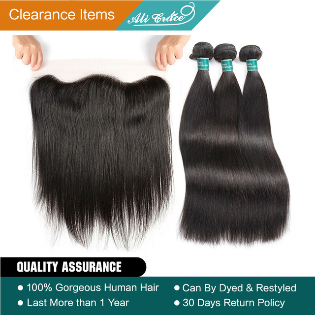 Ali Grace Hair Brazilian Straight Hair With Closure 3 Bundles Remy Human Hair With 13*4 Free Part Ear to Ear Lace Frontal