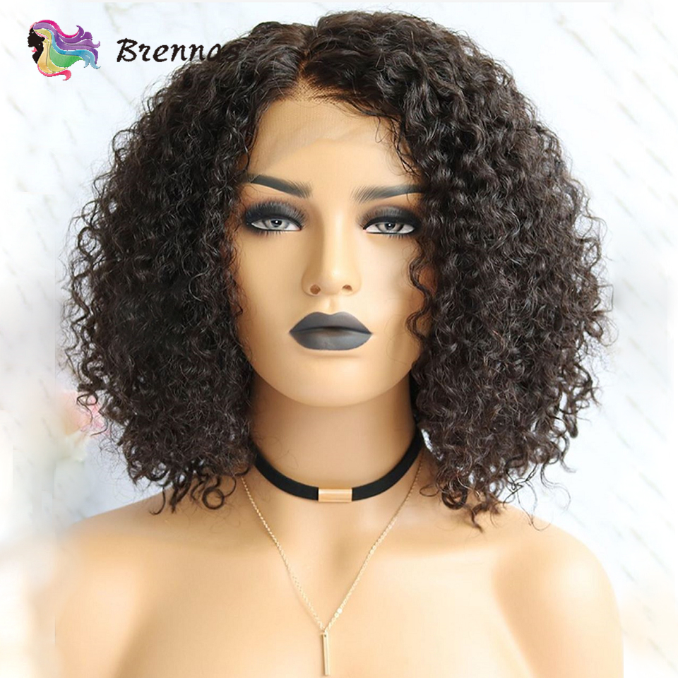 Brennas Brazilian Remy Hair Short Curly Bob Wigs With Baby Hair Curly Lace Front Human Hair