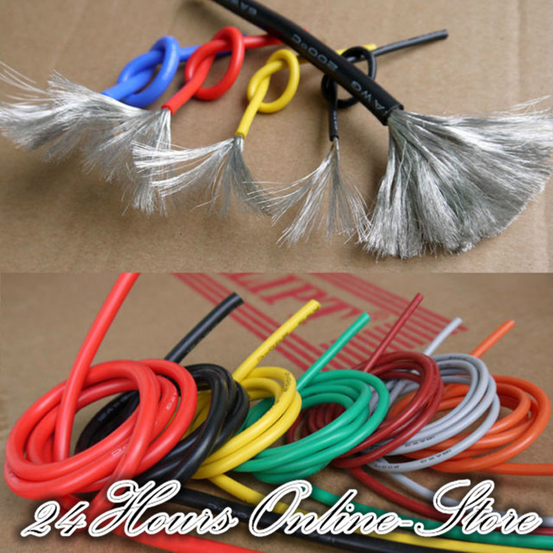 24 AWG Flexible Silicone Wire RC Cable 24AWG 40/0.08TS Outer Diameter 1.5mm With 10 Colors to Select 10awg flexible silicone wire rc cable 10awg 1050 0 08ts outer diameter 5 5mm 5 3mm square model airplane wire