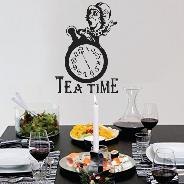 Alice in wonderland wall decal kitchen decor tea time mad hatter tea party quote 56cm x40