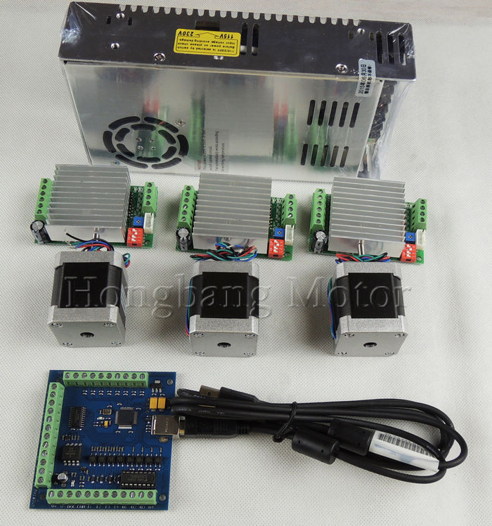 mach3 CNC USB 3 Axis Kit 3pcs TB6600 stepper driver mach3 USB stepper motor controller 100