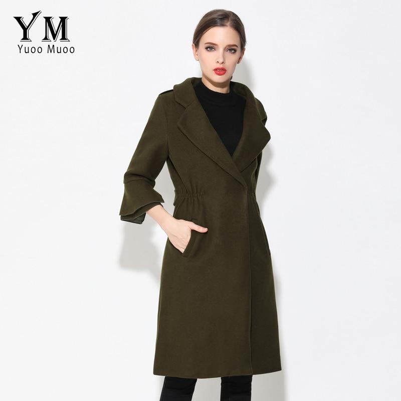 Femmes Yuoomuoo Turn Conception Automne rouge D'hiver Élégant Qualité rose Noir De Long Col Cachemire Manteau Outwear army Green Veste down Haute wSqStIC5rx