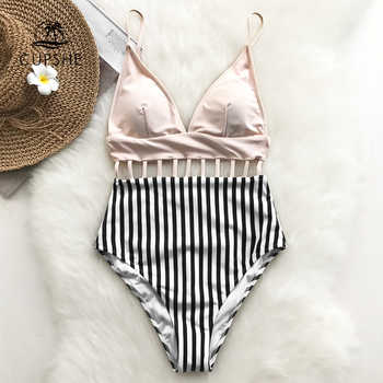 CUPSHE Pink V-neck Strappy One-piece Swimsuit Women Striped Adjustable Cut Out Monokinis 2019 Girl Beach Backless Swimwear - DISCOUNT ITEM  47% OFF All Category