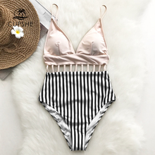 CUPSHE Pink V neck Strappy One piece Swimsuit Women Striped Adjustable Cut Out Monokinis 2020 Girl Beach Backless Swimwear
