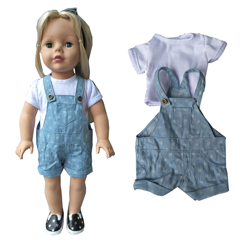 new arrival Quality Doll Clothes sets white shirt+ strap pants  fit 18 inch American girl doll suit set new arrival 2pcs set leisure coat pants for american girl doll 18 inch doll clothes and accessories