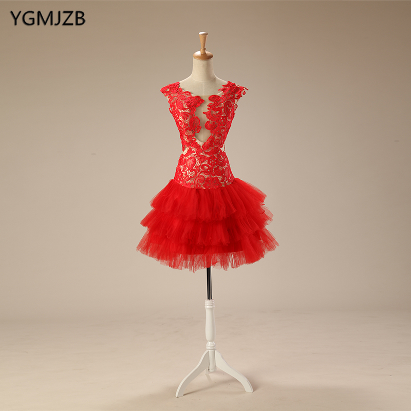 Backless Little   Dress   Red Lace Short   Cocktail     Dress   Puffy Ball Gown Party Homecoming   Dress   Special Occasion Vestido De Festa