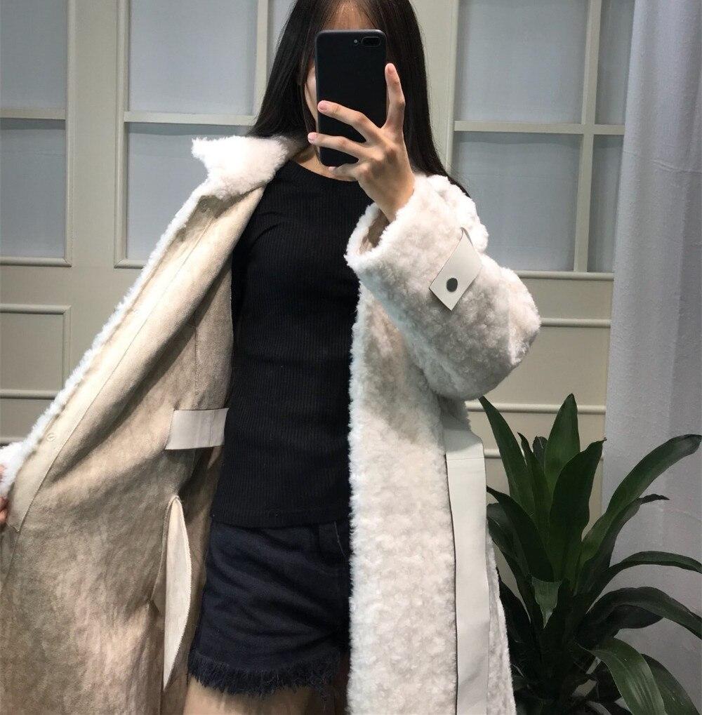 Fourrure face De Vêtements Manteau Épais Laine khaki Longue Double Réel 2018 Naturel Blanc D'hiver Parka Femmes Veste Chaud Fc0wgqzYY