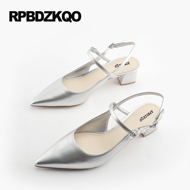 Female Block Heels Slingback Silver 2017 Medium Thick Ladies Ankle Strap Size 4 34 Summer Patent Leather Pointed Toe High China suede slingback 9 bling black women pointed toe large size summer flats rhinestone sandals ankle strap ladies beautiful shoes