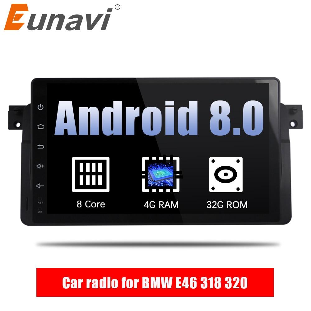 Eunavi 9 ''4G RAM 1 din Android 8.0 Octa Core autoradio pour BMW E46 318 320 Voiture radio DAB M3 3 série avec WIFI Bluetooth DAB +