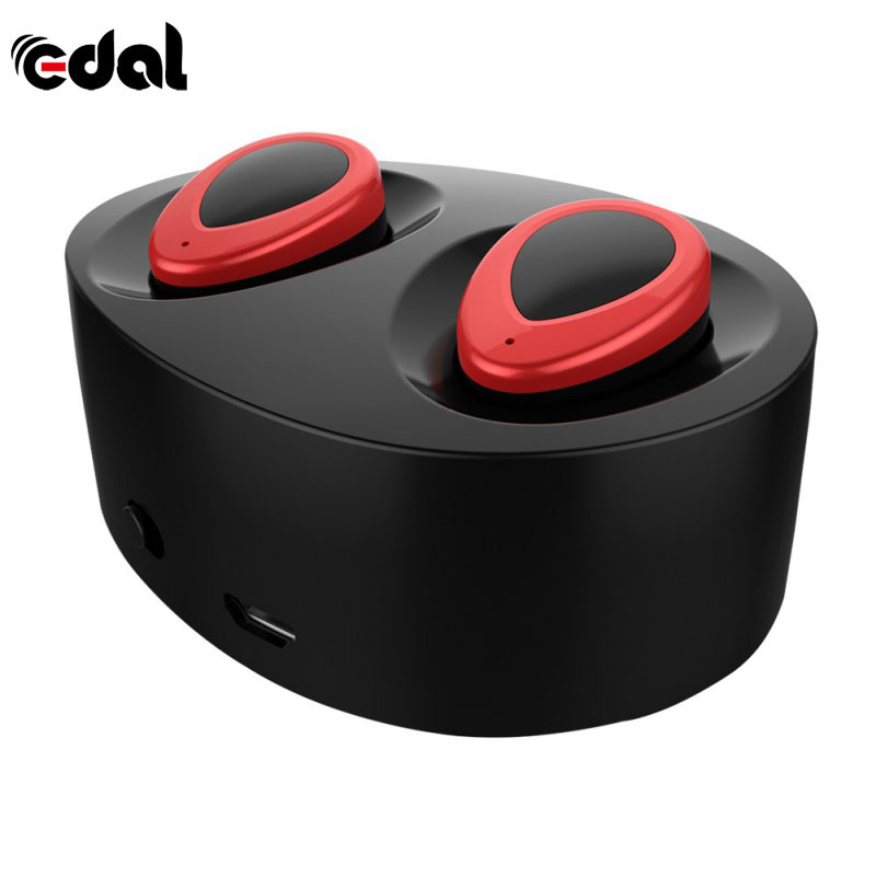 EDAL K2 TWS Stereo Bluetooth Earphones Mini BluetoothHandsfree Earbuds with Microphone and Double Earpieces Charger Box