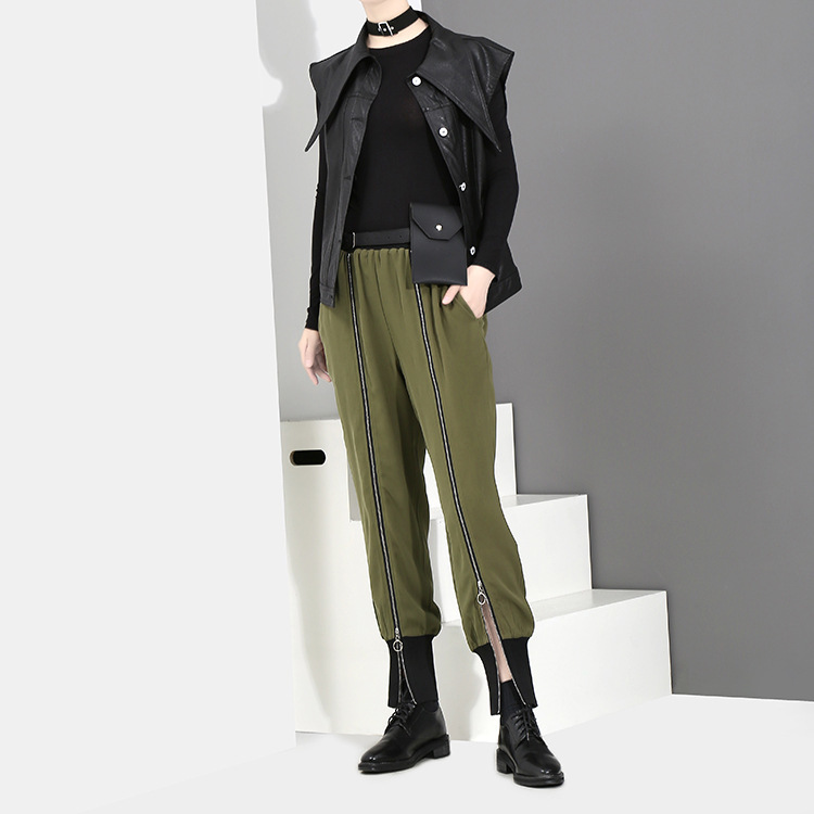 [EAM] 2018 new spring Zipper Decoration high waist solid color black green loose pants women trousers fashion all-match JC58801 8