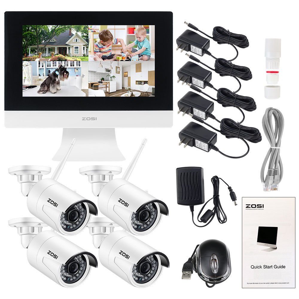 "Image 5 - ZOSI 4CH CCTV System Wireless 960P 10"" LCD NVR Security Camera System 1.3MP IR Outdoor P2P Wifi IP Camera Surveillance Kit 500GB-in Surveillance System from Security & Protection"