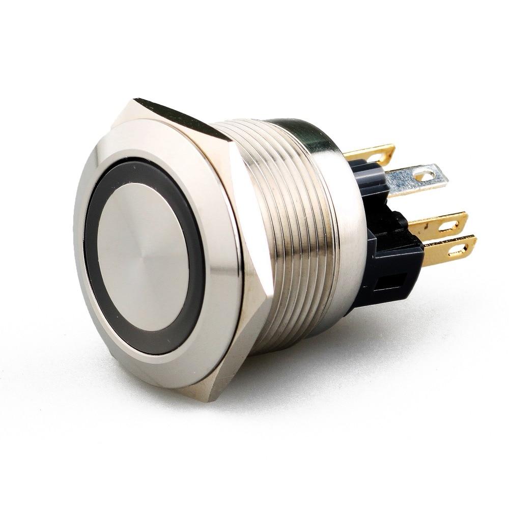 22mm Push button LED siwtch  latching  type ring illuminated 1NO1NC waterproof free shipping