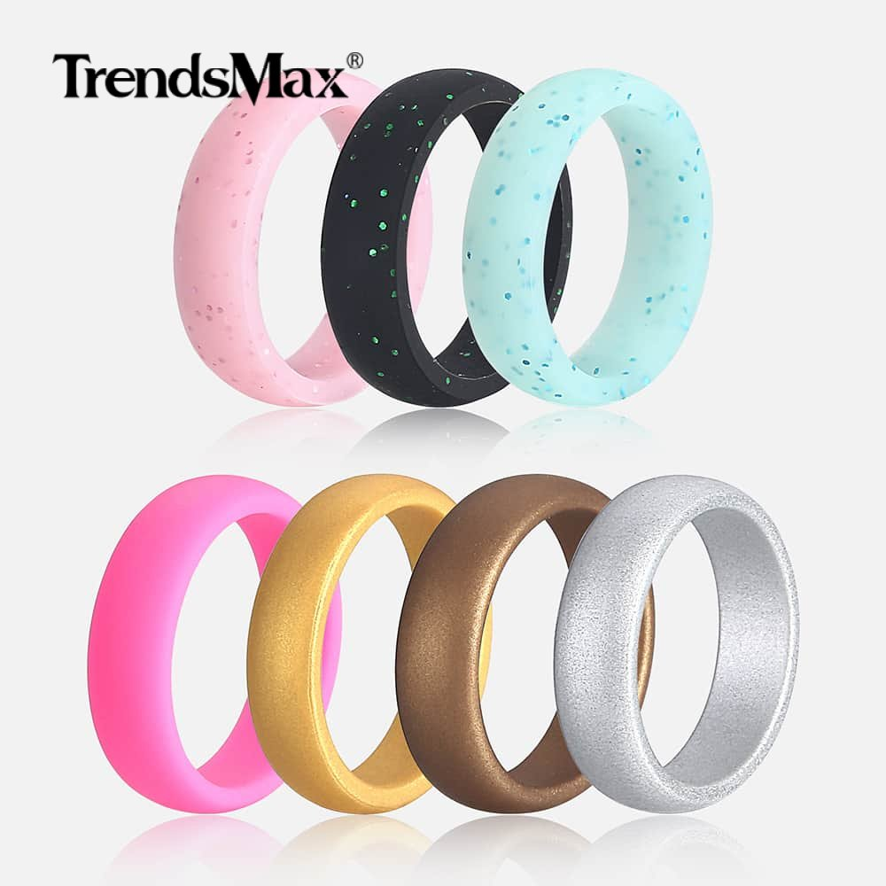 Trendsmax 7pcs/lot Stackable Silicone Ring Hypoallergenic Sporty Rings Girls Rubber Rings for Women Wedding Jewelry SRM03