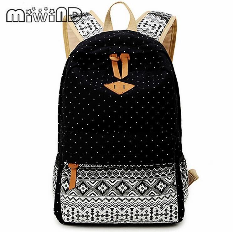 MIWIND Brand Korean Canvas Printing Backpack Women School Bags for Teenage Girls Cute Rucksack Vintage Laptop Backpacks Female
