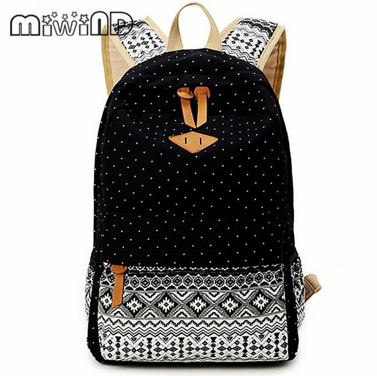 MIWIND Brand Korean Canvas Printing Backpack Women School Bags for Teenage Girls Cute Rucksack Vintage Laptop Backpacks Female