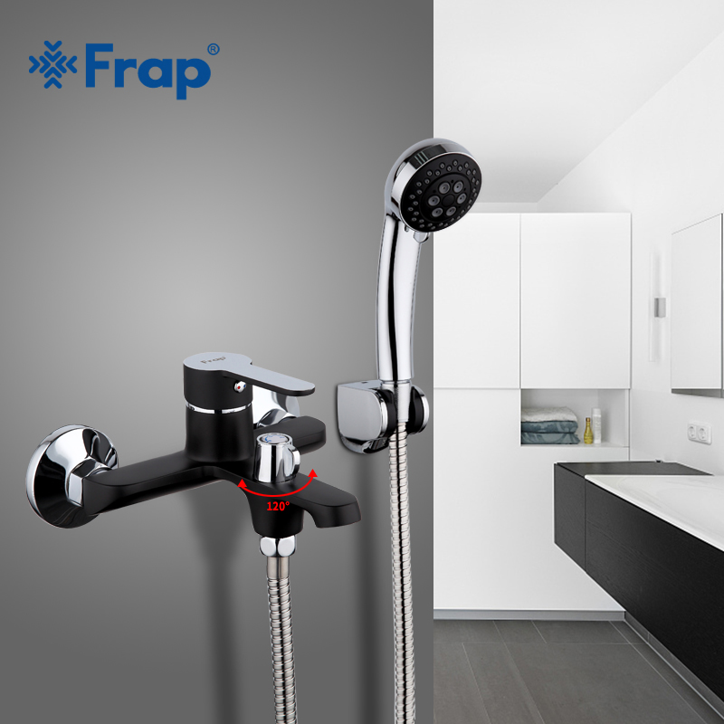 FRAP black bathroom fixture waterfall restroom bath shower faucets set wall mounted bathtub rain shower faucet