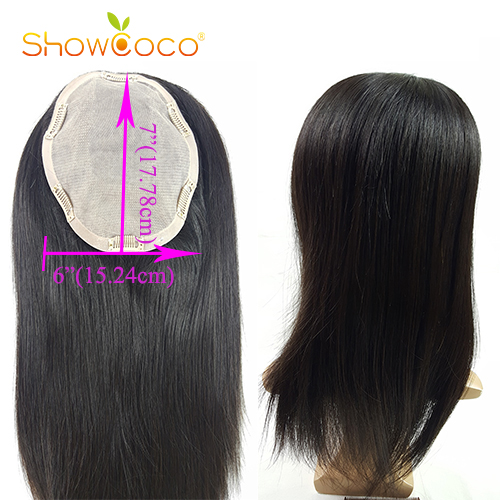 Topper Hair 130% Density Clip In Toupee Hair For Women Human Hair Toupee Virgin  Hair 6*7 Silk Base Natural Color Showcoco