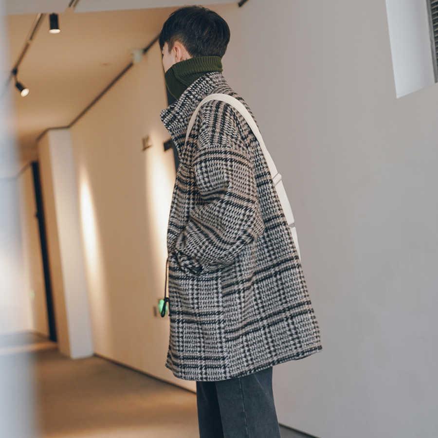 Korean Wool Coat Men Plaid Lattice Male Overcoat Vintage Winter Long Jacket Men Oversized Check Peacoat Mens Coats And Jackets