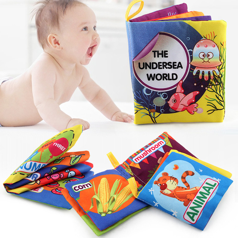 Intelligence Developing Toy Activity Cloth Book Cartoon Animal Soft Baby Educational Toy Cloth Book Plush Animal Story For Baby