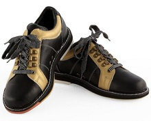Skidproof Sole Black Leather Men Bowling Shoes