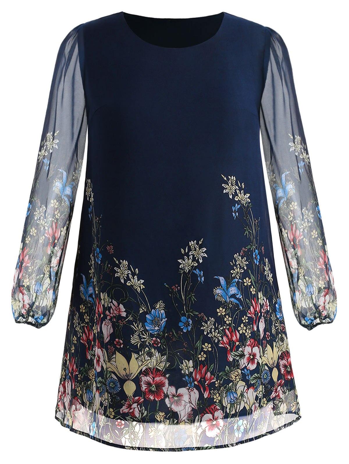 Robe grande taille à manches longues en mousseline de soie dos bleu 2