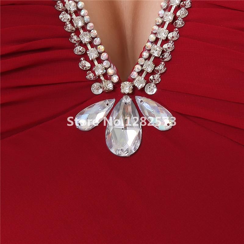 Cheap Simple Wine Red Bridesmaid Dresses Spaghetti Strap Chiffon Crystal Bridesmaid Dress Long V Neck Chic vestidos de festa