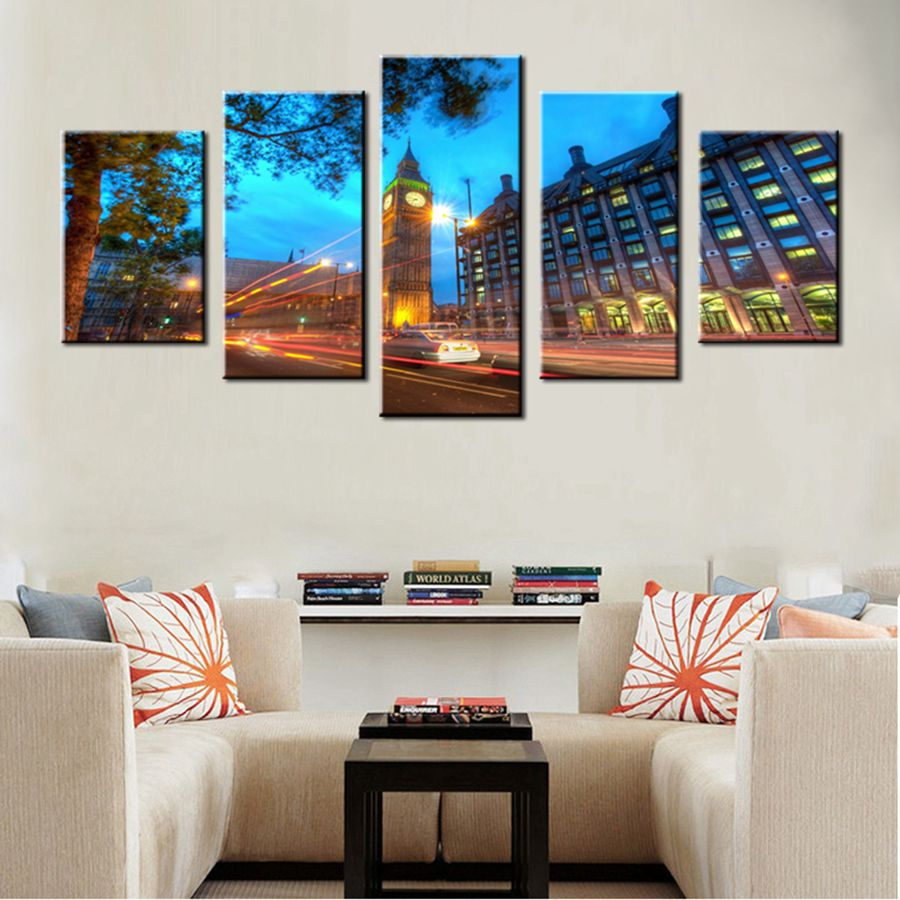 Londons Big Ben At Night Car Light High Quality Photo Art Print Canvas for Living Room Wall Art Frameless Decorative Painting