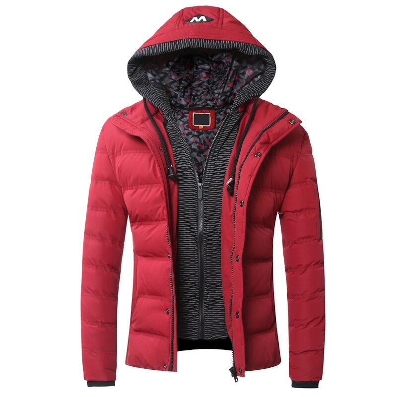2016 Kış Erkek Mont Hoodies FakeTwo Parça Pamuk-yastıklı Ceket Rahat Erkekler Fermuarlı Kapşonlu Kabanlar Sıcak Coat Y092