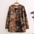2017 Autumn Winter New Cashmere Color Printing Double-pocket Long-sleeved T-shirt Women's Clothing Loose Coat Thickness