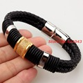 "Charming 8.46"" *12mm Highly Quality Black Genuine Leather Men's Women's Black 316L Stainless Steel Bracelet Bangles Jewelry"