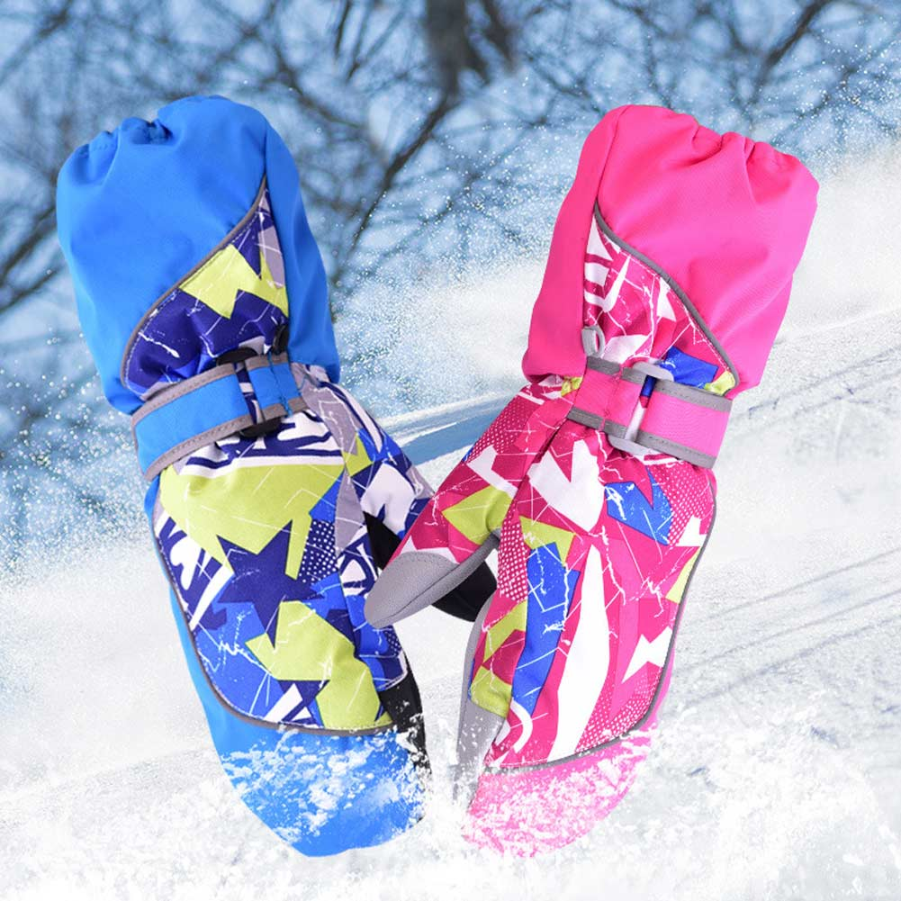 Children Winter Warm Ski Gloves Boys/Girls Sports Waterproof Windproof Non-slip Snow Mittens Extended Wrist Skiing Gloves