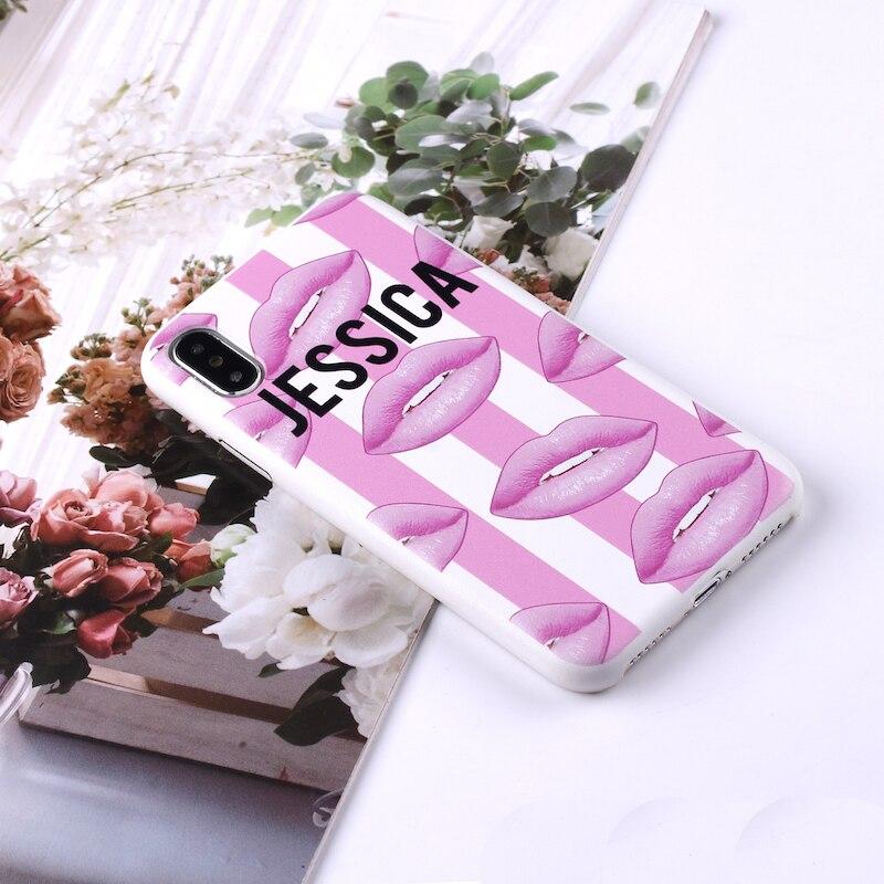 Сексуальные розовые губы, индивидуальный именной Полосатый чехол для телефона из искусственной кожи для iPhone 11 Pro X XS Max XR 7 7Plus 8 8Plus - Цвет: Lips