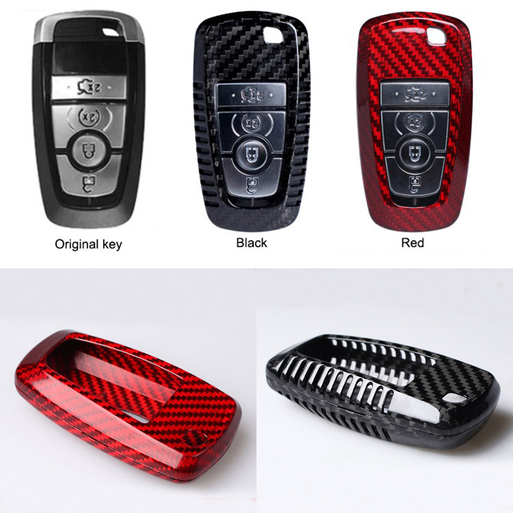 Car Styling Pure Carbon Fiber Car Key Case Cover Shell bag For Ford New Mondeo Edge