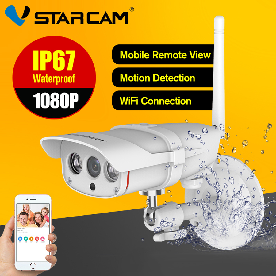 Vstarcam CCTV Camera Outdoor Wifi 1080P Wireless ONVIF Web Bullet Camera P2P IP67 Night Vision Camera Eye4 IR-Cut SD Card Slot