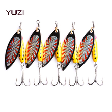 YUZI 5PCS 7CM-10G Fishing Lure accessories Minnow Spinner Spoon Metal isca Artificial Bait fishing tackle 4# Hooks