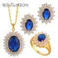 Oval Plateado Oro de Joyería Pendiente Del Collar Set Anillo Azul zirconia Cristal de La Salud Níquel y Sin Plomo Sz #5.75 #6.75 #7.75 #8.5 JS076