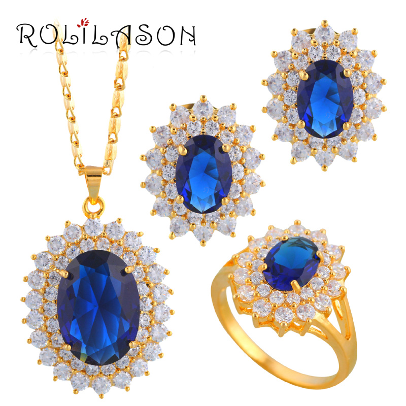 ROLILASON Oval  Gold Tone Earring Pendant Necklace Jewelry Set Ring Blue zirconia Crystal Health Sz #5.75#6.75#7.75#8.5 JS076