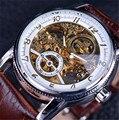 Роскошные часы Winner  брендовые  золотые  повседневные  дизайнерские  коричневые  с кожаным ремешком  мужские часы с перфоратором  механически...