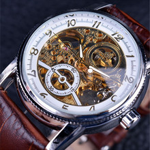 Luxury Winner Brand Golden Case Casual Design Brown Leather Strap Mens Watches Hollow Out Mechanical Skeleton Transparent Watch