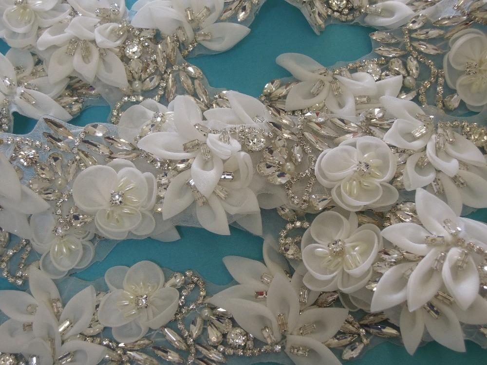 White flower sequin embroidery patch lace applique motif dress