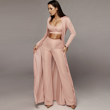 New Women Knitted 3 Piece Set Spaghetti Strap Crop Top High Waist Pant Long Sleeve Cardigan Overcoat Belt Knitwear Streetwear