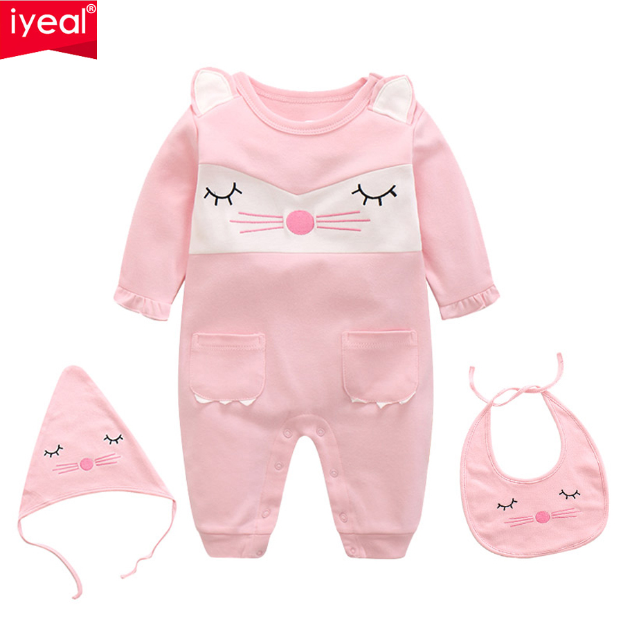 IYEAL Baby Rompers Set Newborn Clothes Baby Clothing Girls Brand Cartoon Jumpsuits With Hat and Bib Long Sleeve Overalls 0-12M 2016 hot baby rompers boys girls cartoon short sleeve baby rompers cotton newborn baby clothes jumpsuits clothing mama printed